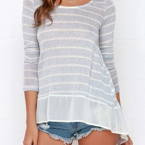 Lulu's Frost at Sea Striped Blue Sweater Top